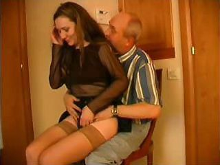 This young indulge loves having her pussy violated by old, balding men