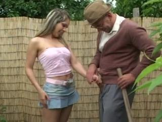 Handjob Old and Young Outdoor Skirt Teen