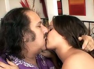 Ron Jeremy loves to fuck this sexy young dark haired girl with perk...