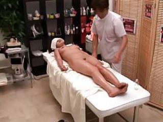 Reluctant woman used by her masseur tubes