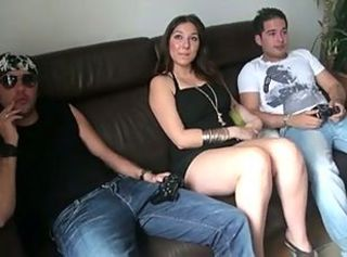 Amazing French Babe with 2 lucky bastards
