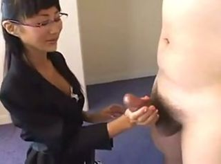 Asian Babe  Glasses Handjob Japanese Secretary