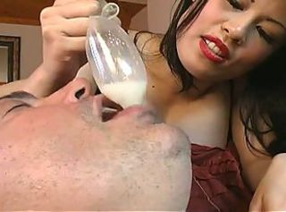 Mistress sasha treats pet with another man& 039;s cum