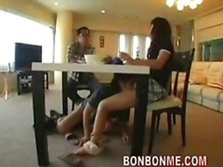 Asian Cuckold Japanese Licking  Wife
