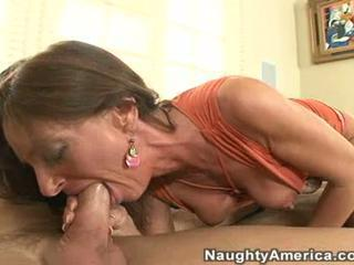 Hot milf Sarah Bricks gets her mouth stuffed with a fat cock until she chokes