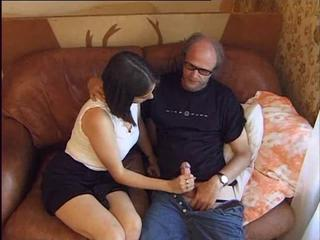 Amateur Daddy Daughter European French Handjob Old and Young Teen