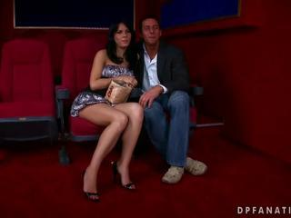 Amabella fucking with two guys in cinema by Reno78