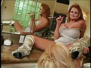 Glamorous pornstars lesbian foreplay in bathroom tubes