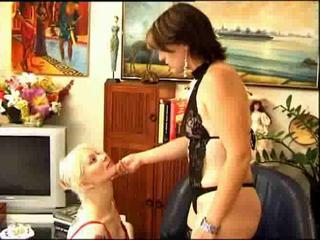 Tattooed lesbian dominated in threeway