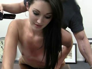Super hot babe bent over the desk and ass fucked