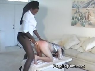 Two massive black muscle women fuck a tiny white guy in the