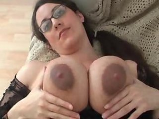 Big Tits Brunette Glasses  Nipples Solo
