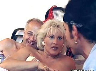 Blonde Mature Threesome