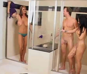 Big Tits  Showers Threesome