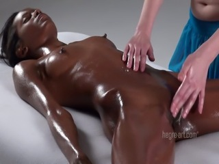 Ebony Lesbian Massage Nipples Oiled