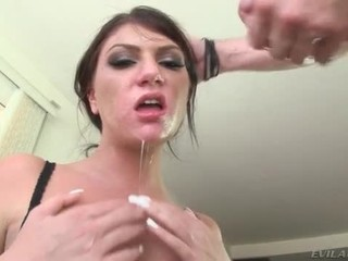 Cock down her throat making her gag
