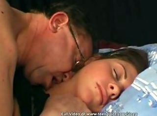 Daddy Daughter Old and Young Sleeping Teen