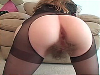 Very hairy bush brunette masturbates and gets fucked