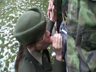 Naughty brunette army bitch getting fucked hard in barracks