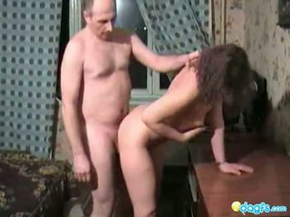 Amateur brunette milf fucks horny daddy like a pro