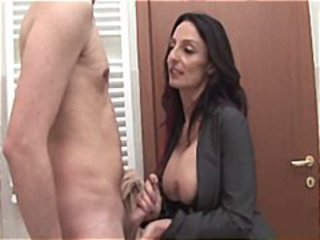 Brunette  Handjob Mom Office