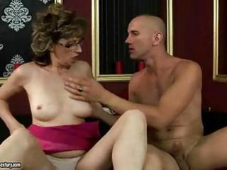 Glasses Hardcore Mature Mom Old and Young Panty