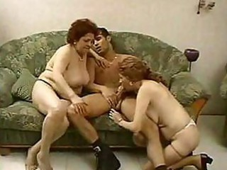 Blowjob Granny Stockings Threesome