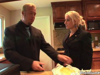 Blonde office whore brings a file to her boss and gets fucked up as reward
