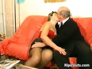 Simmering mature slut gets fucked by two part4