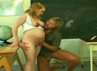 Pregnant schoolgirl gets her pussy fucked