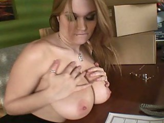 Big Breasted Blonde Cassandra Calogera Masturbates In Her Office