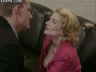Experienced mature lady in pantyhose and her boyfriend playing with each other