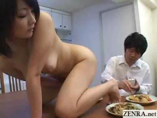 Nudist milf Japanese wife prostrates on table and masturbates