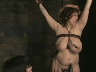 New honey gets her GIANT NATURAL TITS tied up and shocked
