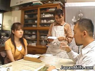 Horny japanese MILFS sucking and