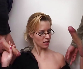Blonde Blowjob Glasses  Threesome