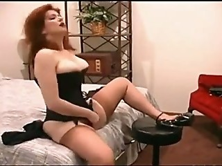 Amazing Corset Masturbating  Redhead Stockings