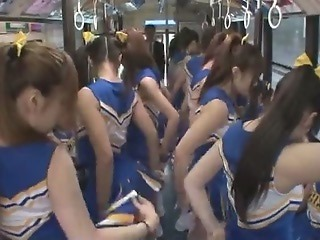 Asiatisk Buss Cheerleader Japansk Tenåring Uniform