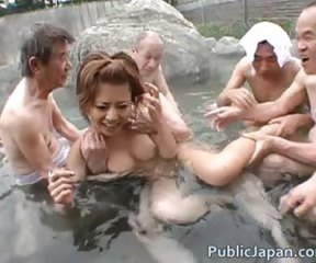 Asian Babe Gangbang Japanese Old and Young Outdoor Pool