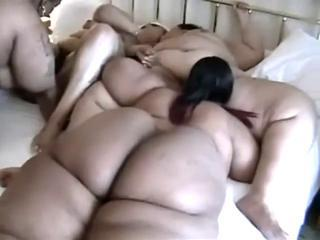 Fat Black Lesbians Get Draw up In A Group Pussy Licking Party