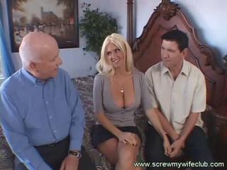 Busty blonde wife screwed doggy-style while horny husband watches