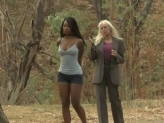 Ebony Interracial Lesbian  Outdoor