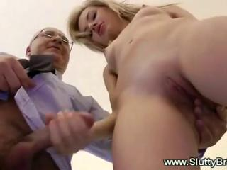 British  European Handjob Old and Young Pussy Shaved Teacher Teen