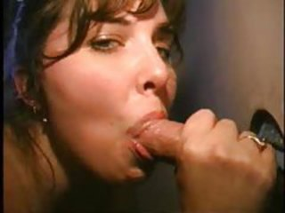 Amateur girl BJ and pigeon-holing at gloryhole tubes