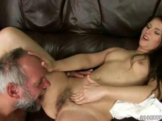 Grandpa fucking and pissing on hot sweeping