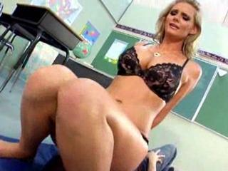 Teacher in amazing satin blouse sits on his face