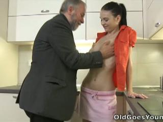 Hot brunette furiously fucked by pussy eating dad