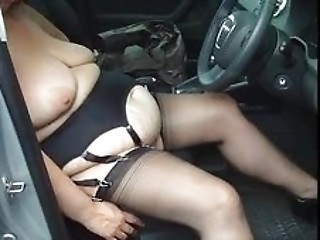 Amateur  Car  Stockings Wife