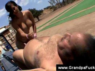 Handjob Old and Young Outdoor Small cock Teen