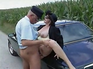 58 year grey lady fucks her chauffeur and a hitchhiker